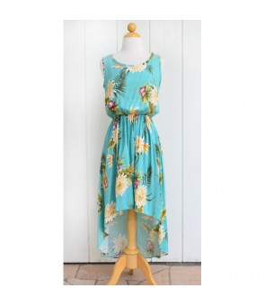 Hawaiian Rayon High-Low Dress [ Ceres ] Green