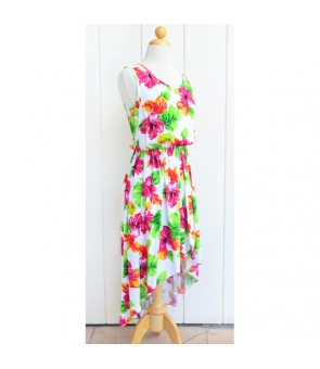 Hawaiian Rayon High-Low Dress [ Hibiscus Watercolor ] White