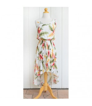 Hawaiian Rayon High-Low Dress [ Sonic ] Beige