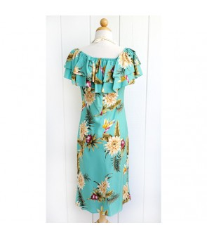 Hawaiian Rayon Mid-Length Off-Shoulder Dress [ Ceres ] Green