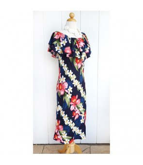 Hawaiian Rayon Mid-Length Off-Shoulder Dress [ Plumeria Orchid Panel ] Navy