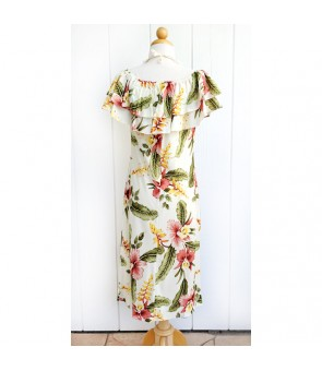 Hawaiian Rayon Mid-Length Off-Shoulder Dress [ Sonic ] Beige