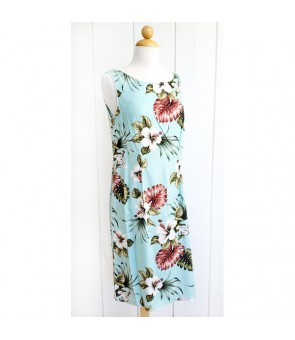 Hawaiian Rayon Mid-Length Tank Dress [ Hibiscus & Monstera ] Light Blue
