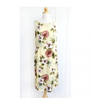 Hawaiian Rayon Mid-Length Tank Dress [ Hibiscus & Monstera ] Light Yellow