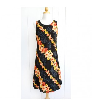 Hawaiian Rayon Mid-Length Tank Dress [ Hibiscus Panel ] Black