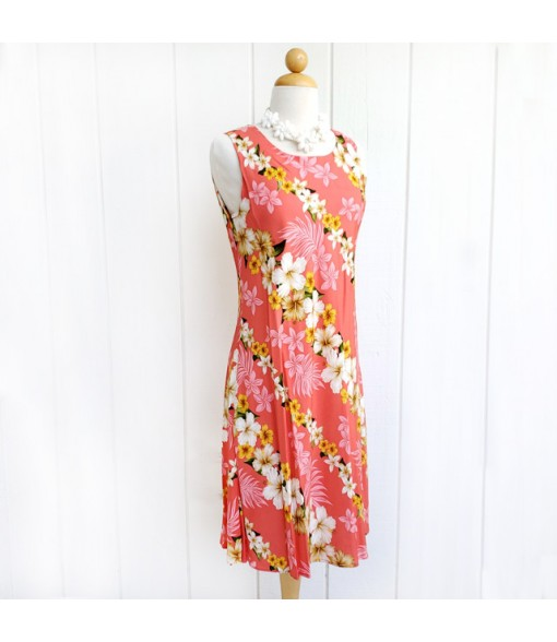 Hawaiian Rayon Mid-Length Tank Dress [ Hibiscus Panel ] Coral