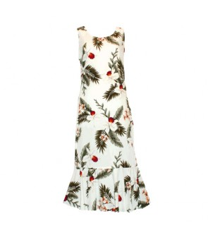 Hawaiian Rayon Sleeveless Semi-Long Dress [ Hawaiian Orchid ] White