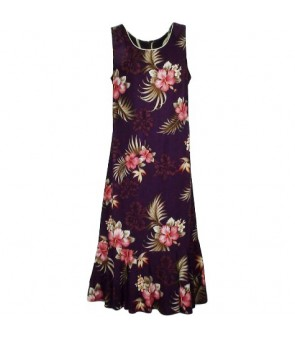 Hawaiian Rayon Sleeveless Semi-Long Dress [ Fern Hibiscus ] Purple
