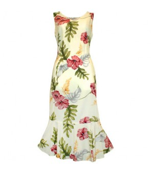 Hawaiian Rayon Sleeveless Semi-Long Dress [ Monstera ] Cream