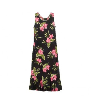 Hawaiian Rayon Sleeveless Semi-Long Dress [ Orchid Fern ] Black