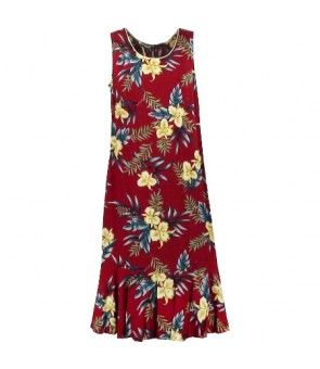 Hawaiian Rayon Sleeveless Semi-Long Dress [ Orchid Fern ] Red