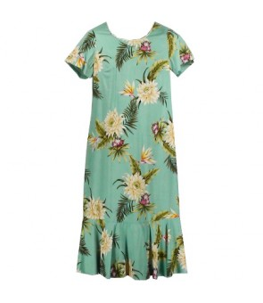 Hawaiian Rayon Sleeve Semi-Long Dress [ Ceres ] Green