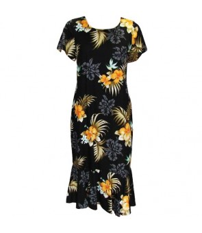 Hawaiian Rayon Sleeve Semi-Long Dress [ Fern Hibiscus ] Black