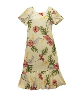 Hawaiian Rayon Sleeve Semi-Long Dress [ Monstera ] Cream