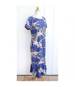 Hawaiian Rayon Sleeve Semi-Long Dress [ Pali Orchid ] Blue