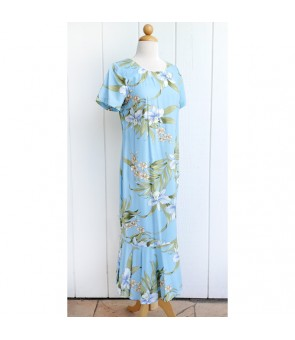 Hawaiian Rayon Sleeve Semi-Long Dress [ Pali Orchid ] Light Blue