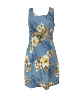 Hawaiian Cotton Short Tank Dress [ Hibiscus Trend ] Blue