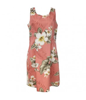 Hawaiian Cotton Short Tank Dress [ Hibiscus Trend ] Coral