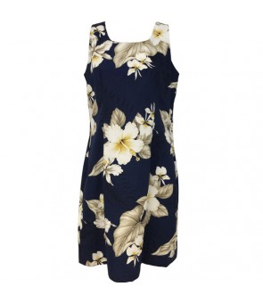 Hawaiian Cotton Short Tank Dress [ Hibiscus Trend ] Navy