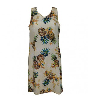 Hawaiian Rayon Short Tank Dress [ Golden Pineapple ] Cream
