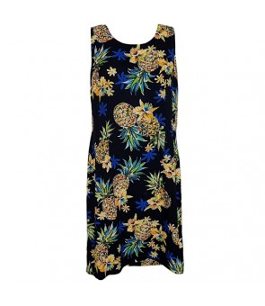 Hawaiian Rayon Short Tank Dress [ Golden Pineapple ] Navy