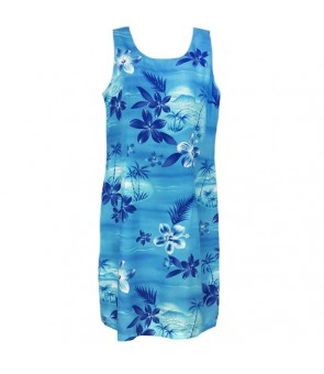 Hawaiian Rayon Short Tank Dress [ Moonlight Scenic ] Blue
