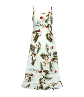 Hawaiian Rayon Semi-Long Spaghetti Strap Dress [ Hawaiian Orchid ] White