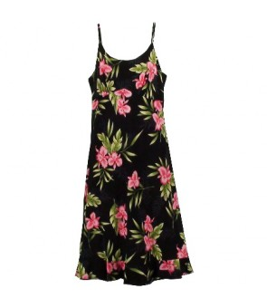 Hawaiian Rayon Semi-Long Spaghetti Strap Dress [ Orchid Fern ] Black
