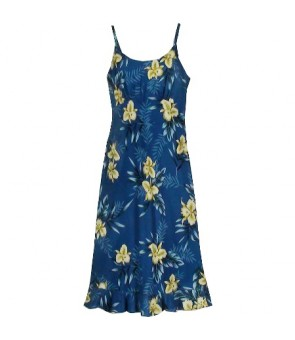Hawaiian Rayon Semi-Long Spaghetti Strap Dress [ Orchid Fern ] Blue