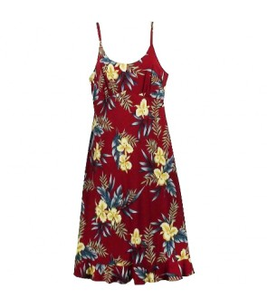 Hawaiian Rayon Semi-Long Spaghetti Strap Dress [ Orchid Fern ] Red