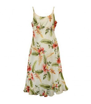 Hawaiian Rayon Semi-Long Spaghetti Strap Dress [ Sonic ] Beige