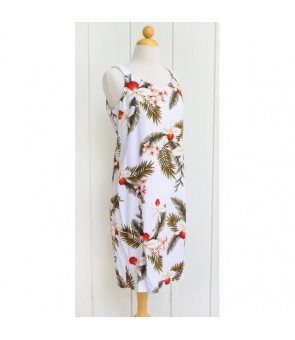 Hawaiian Rayon Elastic Shoulder Short Dress [ Hawaiian Orchid ] White