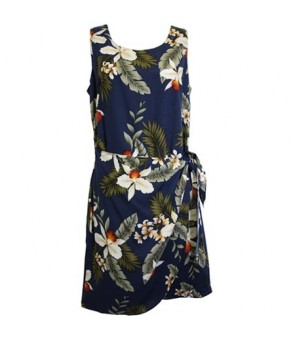 Hawaiian Rayon Sarong Short Dress [ Hawaiian Orchid ] Navy