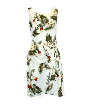 Hawaiian Rayon Sarong Short Dress [ Hawaiian Orchid ] White