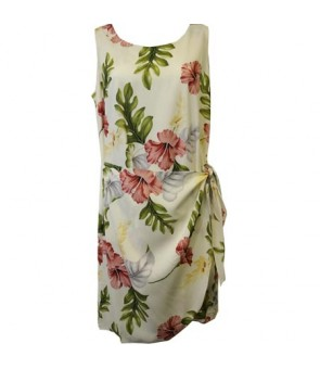 Hawaiian Rayon Sarong Short Dress [ Monstera ] Cream