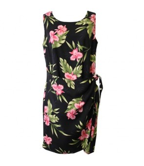 Hawaiian Rayon Sarong Short Dress [ Orchid Fern ] Black