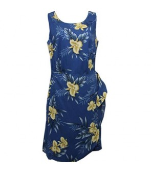 Hawaiian Rayon Sarong Short Dress [ Orchid Fern ] Blue