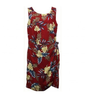 Hawaiian Rayon Sarong Short Dress [ Orchid Fern ] Red