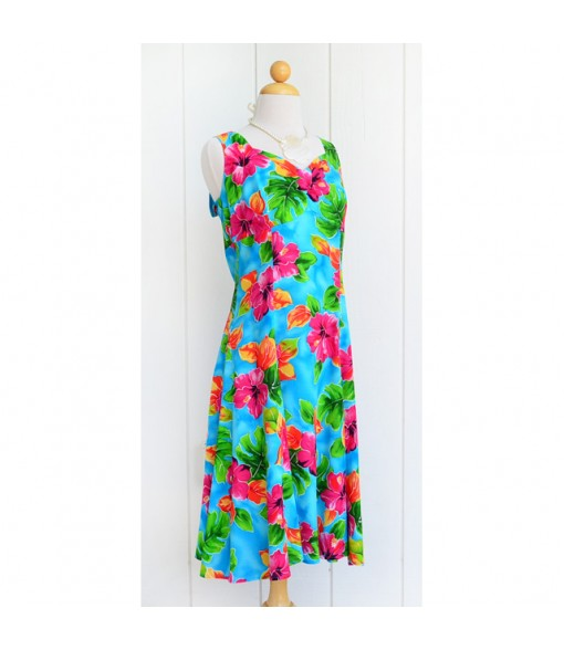 Hawaiian Rayon Princess Middle-Short Dress [ Hibiscus Watercolor ] Blue