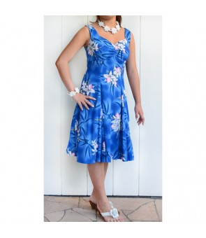 Hawaiian Rayon Princess Middle-Short Dress [ Midnight Orchid ] Blue