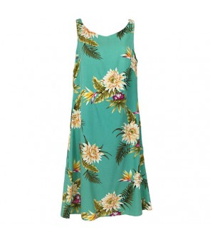 Hawaiian Rayon Mid-Length Tank Dress [ Ceres ] Green