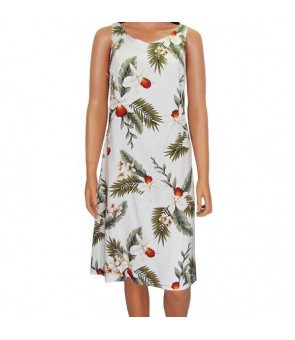 Hawaiian Rayon Mid-Length Tank Dress [ Hawaiian Orchid ] White