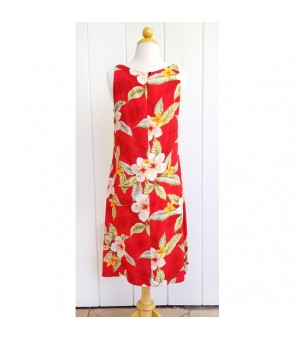 Hawaiian Rayon Mid-Length Tank Dress [ Leilani ] Red