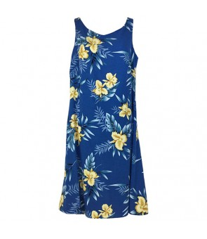 Hawaiian Rayon Mid-Length Tank Dress [ Orchid Fern ] Blue