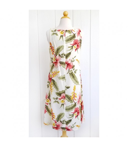 Hawaiian Rayon Mid-Length Tank Dress [ Sonic ] Beige