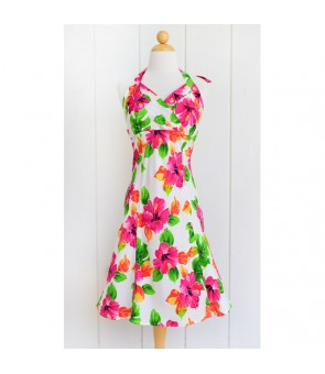 Hawaiian Rayon Short Halter Dress [ Hibiscus Watercolor ] White