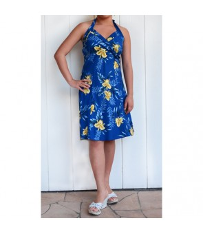 Hawaiian Rayon Short Halter Dress [ Orchid Fern ] Blue