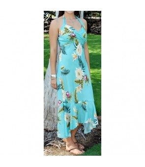 Hawaiian Rayon Semi-Long Halter Dress [ Ceres ] Green