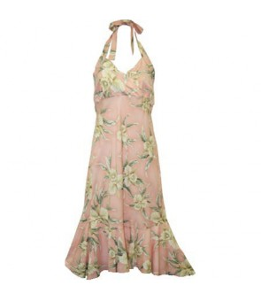 Hawaiian Rayon Semi-Long Halter Dress [ Retro Orchid ] Pink