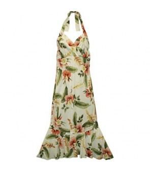 Hawaiian Rayon Semi-Long Halter Dress [ Sonic ] Beige